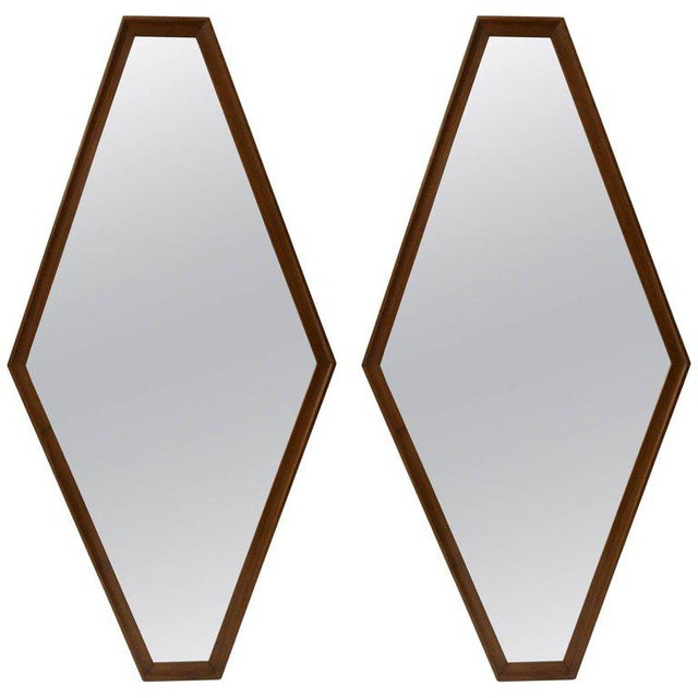 Pair of Walnut Diamond Mirrors For Sale - Image 4 of 4