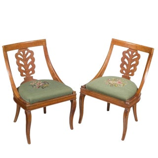 Vintage Italian Diminutive Carved Side Chairs - a Pair For Sale