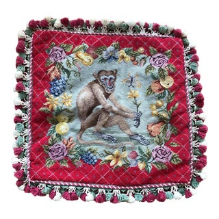 1960s Baroque Hand Done Monkey Needle Point Pillow For Sale
