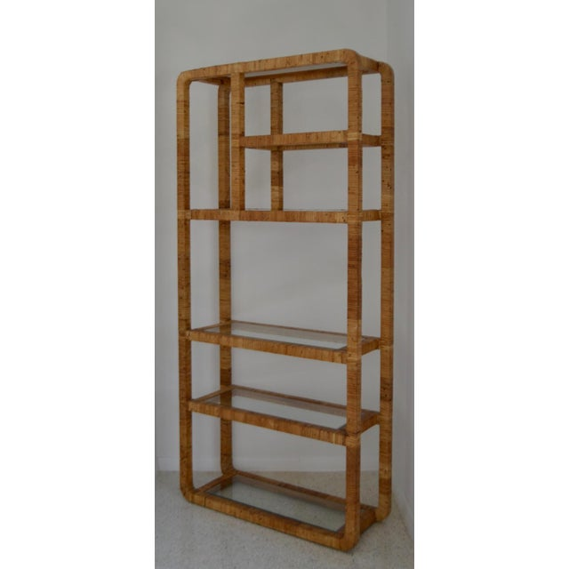 Brown Mid-Century Rattan Bookcase For Sale - Image 8 of 13