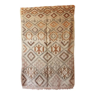 1940s Moroccan Beni Ourain Brown Star Pattern Rug For Sale