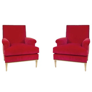 A Pair of Louis XVI Style Armchairs by Carlhian, France, C. 1940. Newly Upholstered in a Vibrant Rouge Velvet For Sale