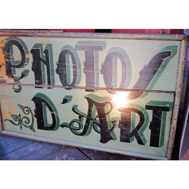 "Art Deco 1920s Classic French Art Deco Sage Green Painted 2-Sided ""Photos D'Art"" Shop Sign For Sale - Image 3 of 13"