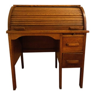 Antique Traditional Oak Child's Rolltop Desk For Sale