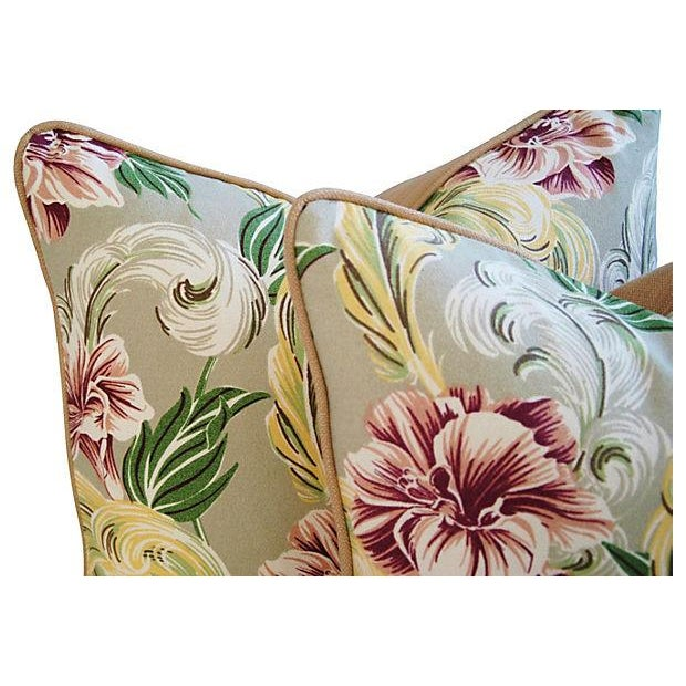 """23"""" Custom Tailored Tropical Floral Barkcloth Feather/Down Pillows - Pair - Image 5 of 7"""