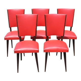 Beautiful Set of 5 French Art Deco Solid Mahogany Dining Chairs Circa 1940s. For Sale