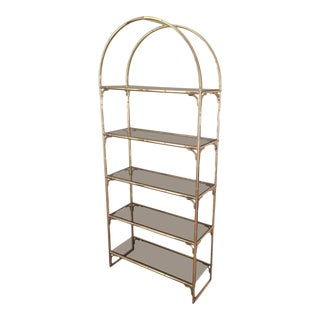 Faux-bamboo Brass and Chrome Etagere, in the Style of Maison Baguès