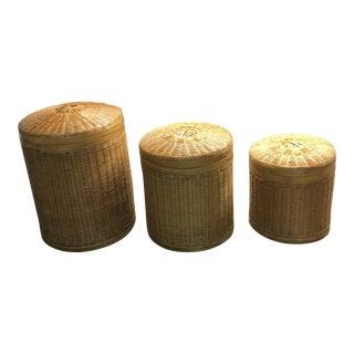 Vintage Mid-Century Nesting Baskets - Set of 3 For Sale