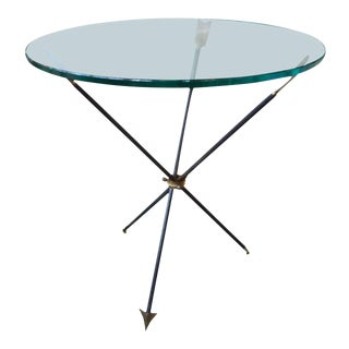 1960's Italian Gio Ponti Style Iron and Brass Arrow Table For Sale