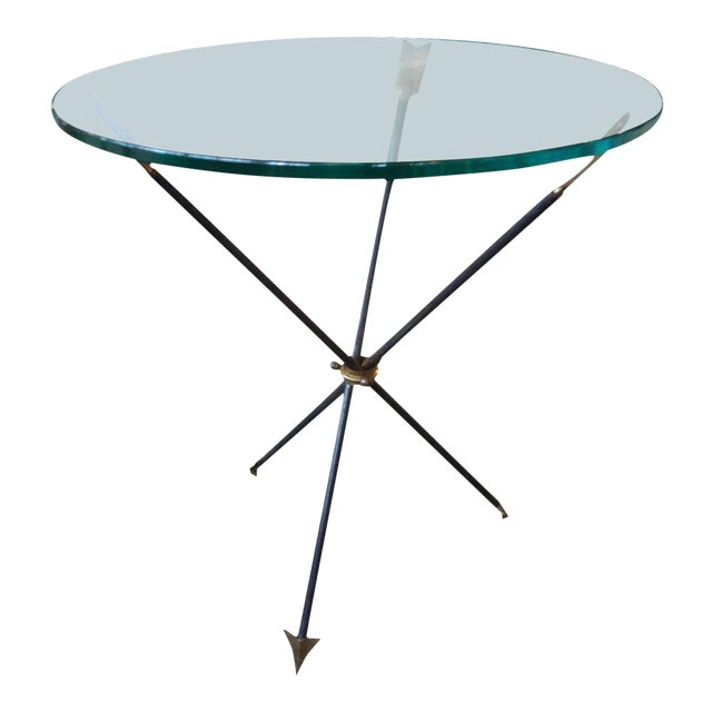 1960's Italian Gio Ponti Style Iron and Brass Arrow Table For Sale