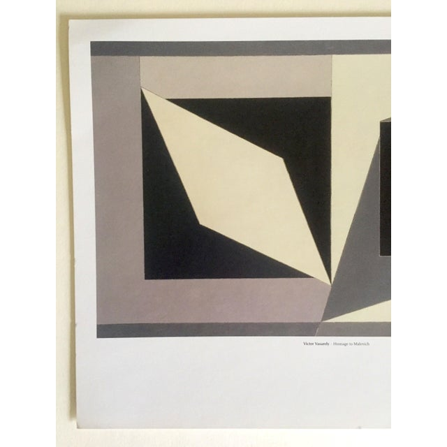 """This vintage Victor Vasarely Op Art Modernist geometric offset lithograph print """" Homage to Malevich """" 1953, is a very..."""