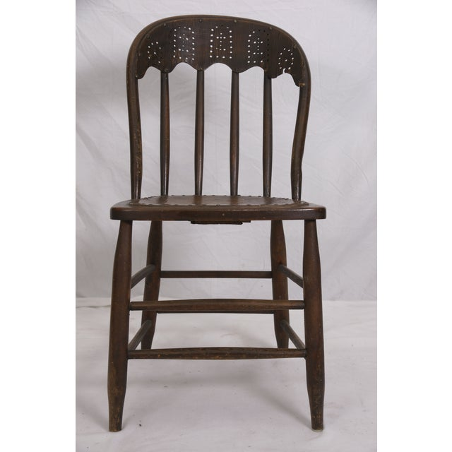 Windsor Chair Tooled Leather Seat Pierced Bib - Image 3 of 6