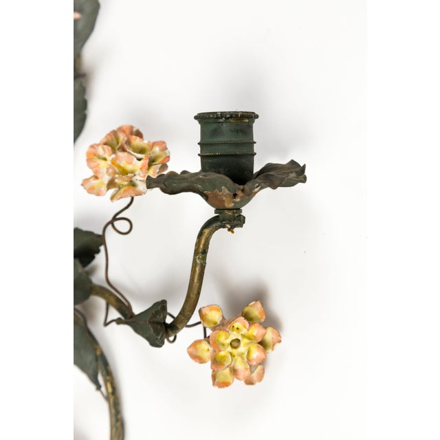 Metal Tole and Porcelain Floral Wall Hanging Candle Holders - A Pair For Sale - Image 7 of 13