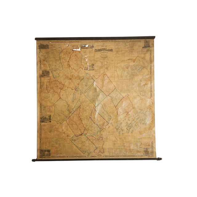 1860s Cumberland County Maine Wall Map Featuring Portland For Sale