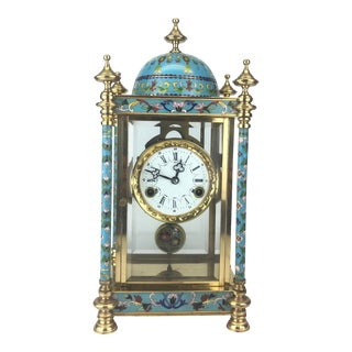 Vintage French Enamel Table Clock, C. 20th Century For Sale