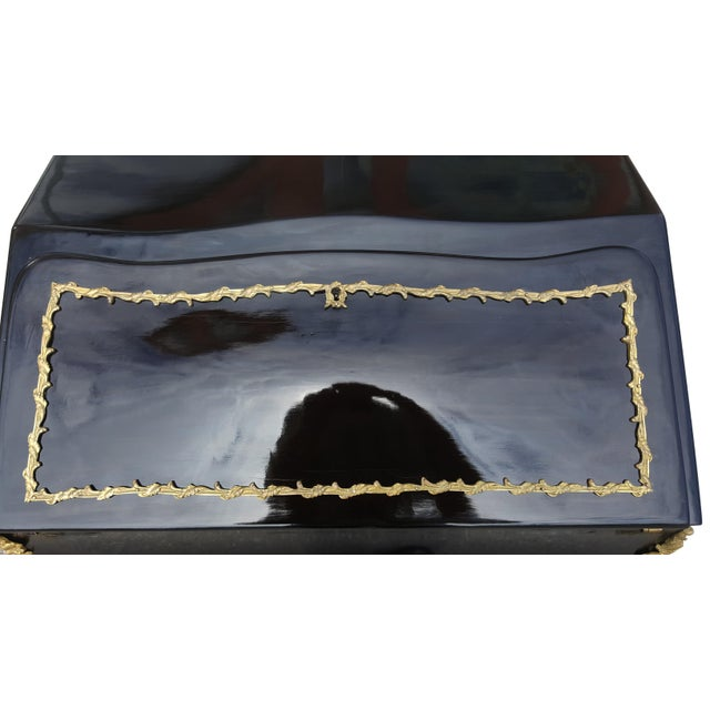19th Century French Louis XV Black Lacquer Secreatary Desk For Sale - Image 10 of 12