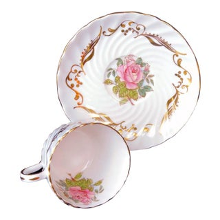 Aynsley Large Pink Roses & Gold Trim Teacup & Saucer Signed G Bentley - a Pair For Sale