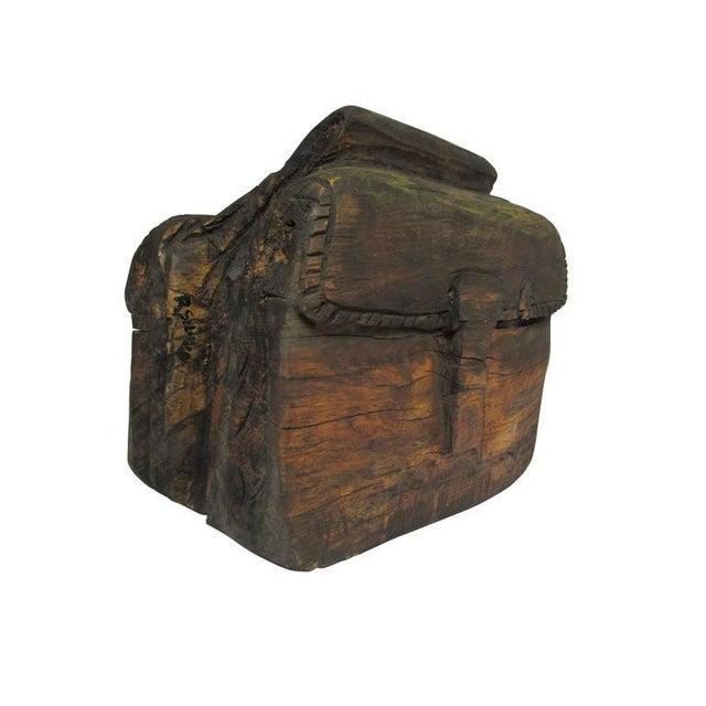 """""""Ol' Saddlebags"""" Folk Art Carved Sculpture For Sale - Image 4 of 10"""