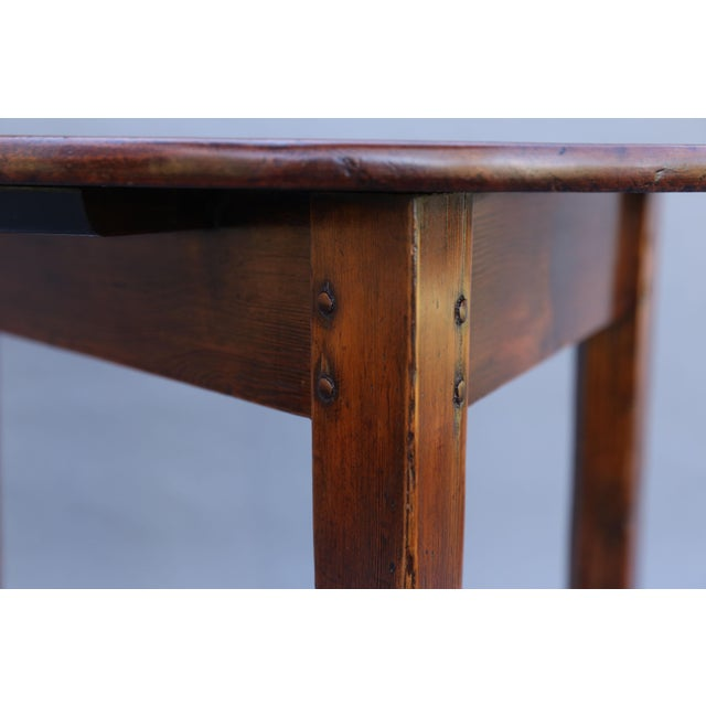 Antique English Chestnut Cricket Table, One Board Top For Sale - Image 4 of 9