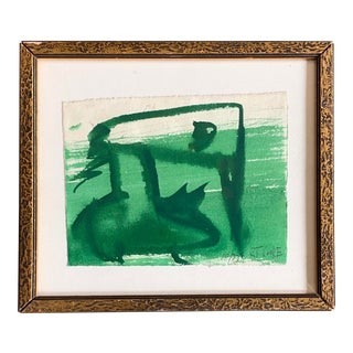 Original 1970's Vintage Robert Cooke Abstract Green Duck Painting For Sale