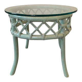 Vintage Boho Chic Ficks Reed Rattan Side Table For Sale