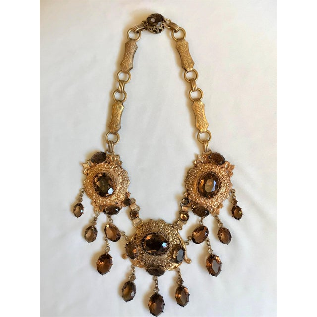 1950 Gold Tone Smoky Topaz Glass Bib Necklace For Sale - Image 4 of 7