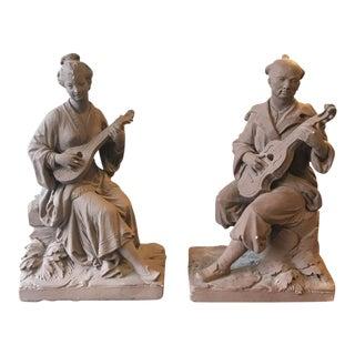Vintage Terra-Cotta Figures - A Pair