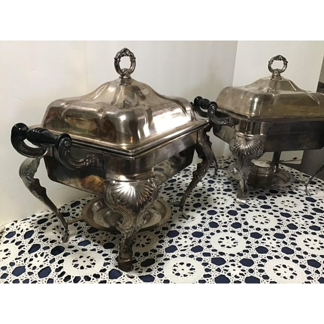 Vintage Silverplate Covered Buffet Server Chafing Dish a Pair For Sale In Cleveland - Image 6 of 12