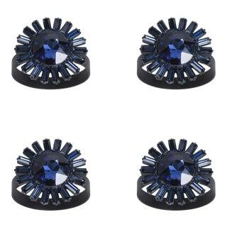 Giant Gem Skinny Napkin Rings, Navy, Set of Four For Sale