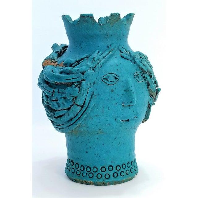 1970s Studio Art Pottery Ceramic Sculpture Blue Vase by Maurice Grossman-Cubist Mid Century Modern Brutalist Boho Face Bust Abstract MCM Art Deco For Sale - Image 4 of 13