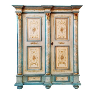 Antique Gustavian Swedish Neoclassical Painted Armoire / Wardrobe For Sale