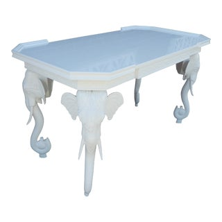 1970s Hollywood Regency Gampel and Stoll White Lacquered Elephant Desk/Console Table For Sale