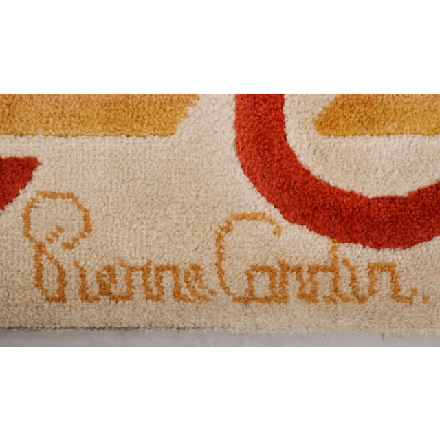 Modernist Wool Rug by Pierre Cardin in Cream, Denmark 1970s For Sale - Image 10 of 11