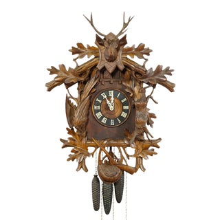 Late 19th Century Black Forest Carved Wood Cuckoo and Quail Clock With Deer Head For Sale