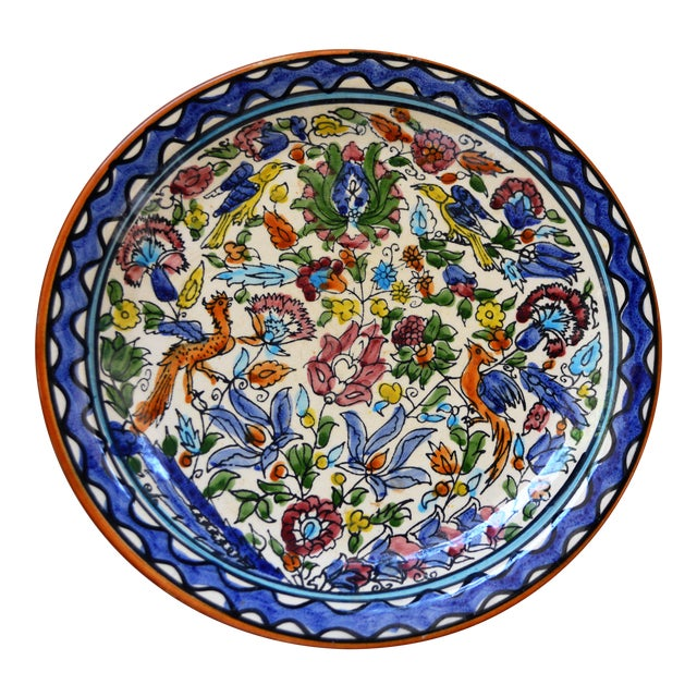 Italian Majolica Hand Painted Dish Plate Wall Blue White Green Red Handmade Vintage For Sale