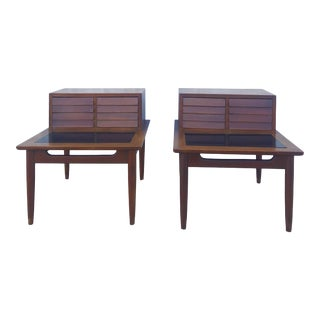 Mid Century Modern Louvered Front Two Drawer End Tables by American of Martinsville For Sale