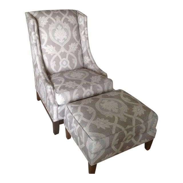 Lexington Barclay Butera Wing Back Chair & Ottoman For Sale