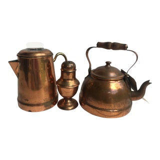 Antique Copper Coffee Pot, Tea Pot, and Confectionary Sugar Shaker For Sale