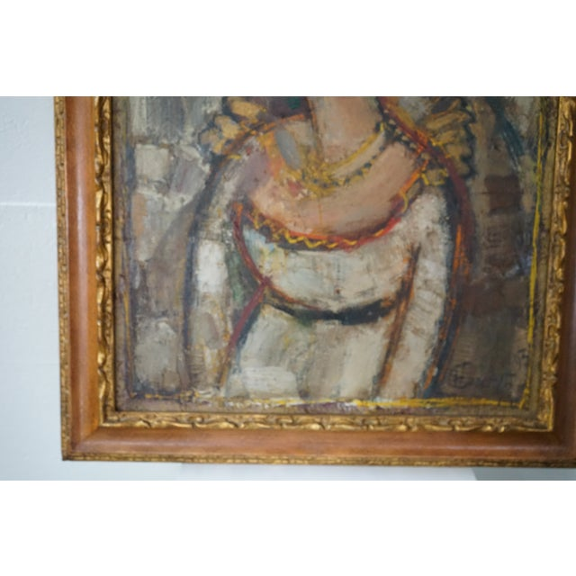 1980s Vintage Ukrainian Abstract Oil Painting of a Woman For Sale - Image 5 of 8