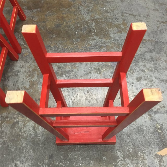 Red Solid Wood Stools - Set of 3 - Image 6 of 10