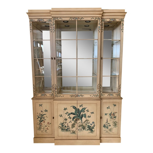 Hand Painted China Cabinet by Drexel For Sale