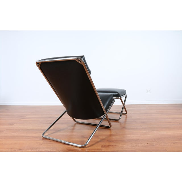 Black Ward Bennet Style Chrome and Leather Lounge Chair For Sale - Image 8 of 8