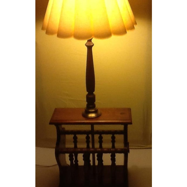 Mid-Century Wood and Brass Magazine Rack/Side Table/Lamp For Sale - Image 11 of 11