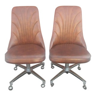 Vintage Chromcraft Padded Vinyl Caster Dining Chairs - A Pair