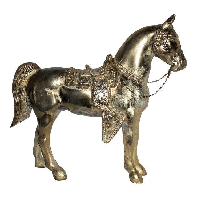 Vintage Metallic Paint Metal Horse Figure For Sale