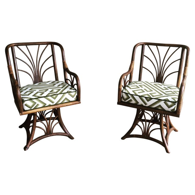 Rattan Swivel Chairs - A Pair - Image 1 of 6