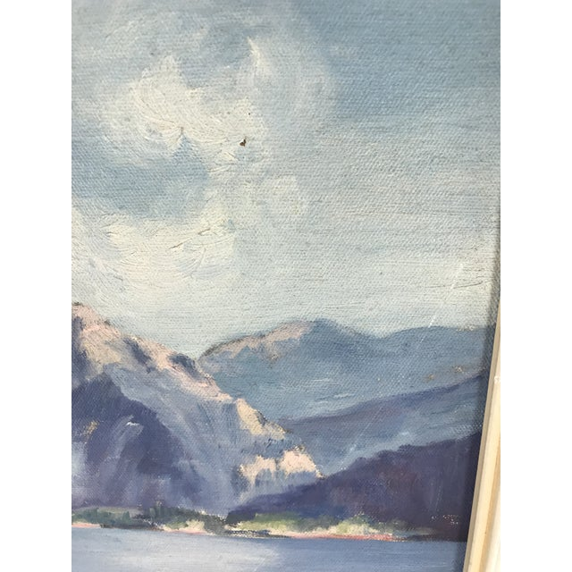 1940's Original Oil on Canvas Mountain Landscape Signed For Sale - Image 12 of 13