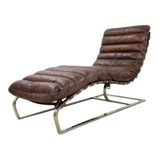 Oviedo Brown Leather Chaise by Restoration Hardware For Sale