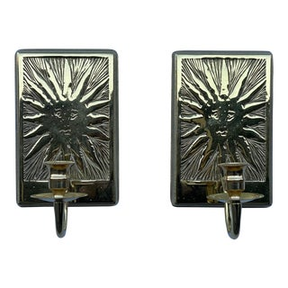 Solid Brass Sun Virginia Metalcrafters Candle Sconces - a Pair For Sale