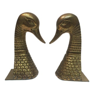 Vintage Intricately Detailed Brass Duck Bookends For Sale